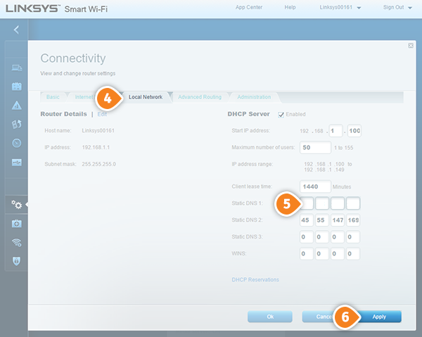 Linksys Router Smart DNS Setup: Step 3