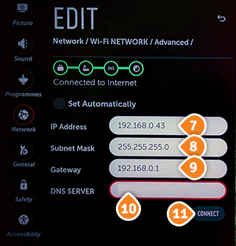 How to set up Smart DNS on LG TV: Step 6