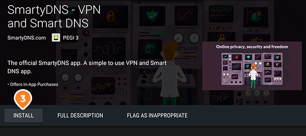 How to set up SmartyDNS App for Android TV: Step 2