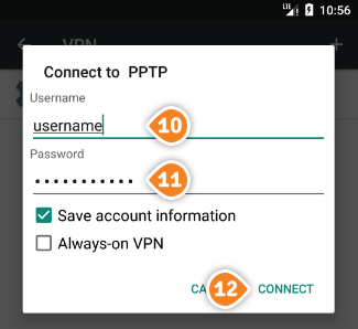 How to set up PPTP on Android Nougat: Step 7