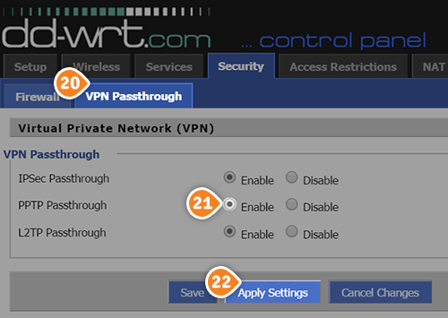How to set up PPTP VPN on DD-WRT Routers without script: Step 3