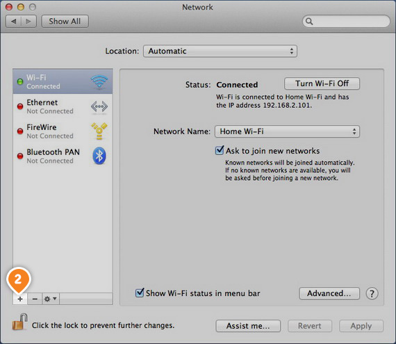How to set up PPTP on Mac OS: Step 2