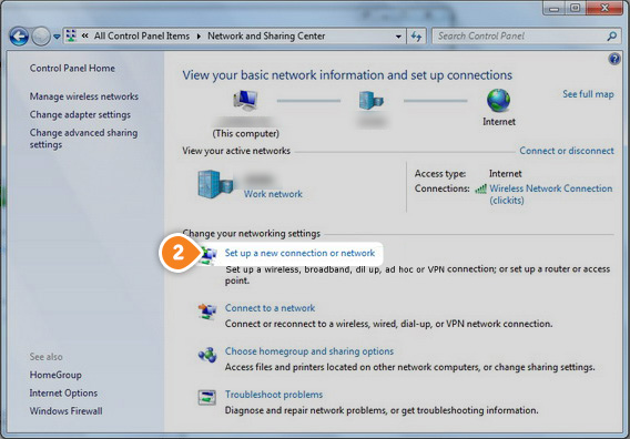 How to set up PPTP on Windows 7: Step 2