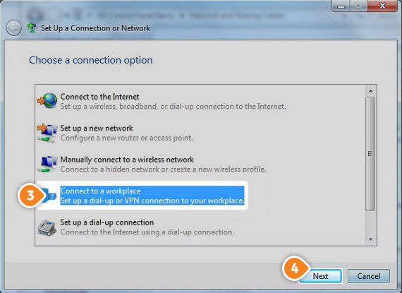 How to set up PPTP on Windows 7: Step 3